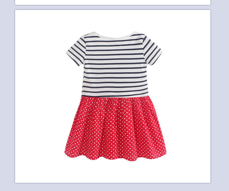 条纹点点短袖连衣裙 儿童裙子 红