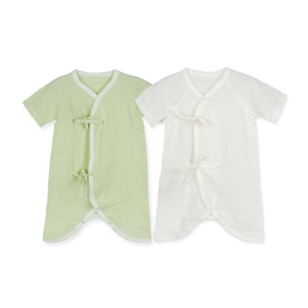 婴儿夏装 宝宝纯棉muslin纱布蝴蝶衣爬服2件装 90003 本白 粉绿