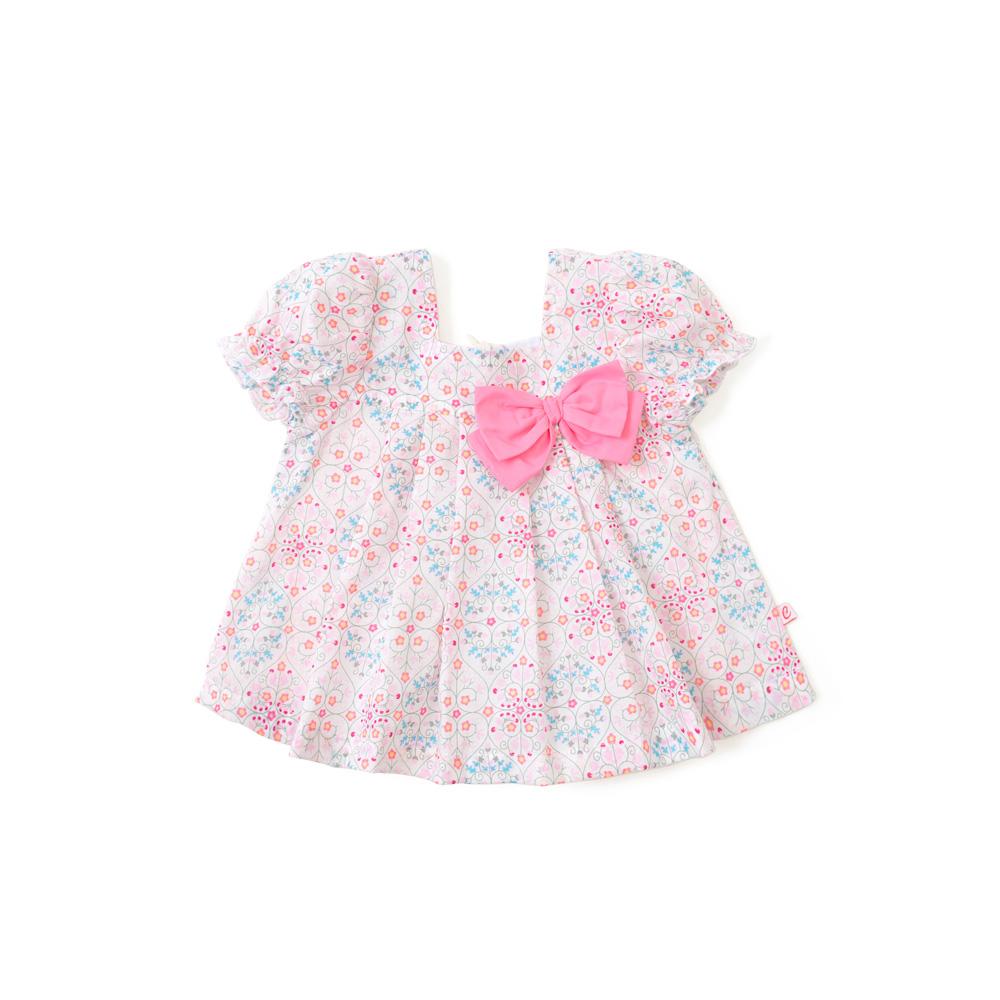 新款女宝宝夏季衣服女童碎花蝴蝶结短袖休闲t恤 浅紫花