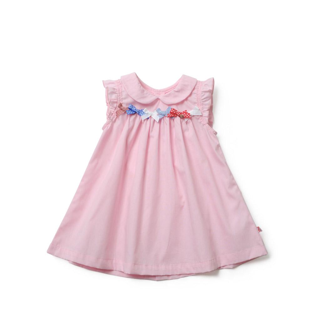 女童背心裙子 婴儿夏日背心裙子女宝宝翻领裙子 粉红