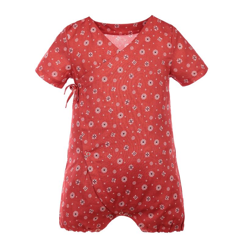 宝宝纯棉短袖和尚服连体衣 红印花