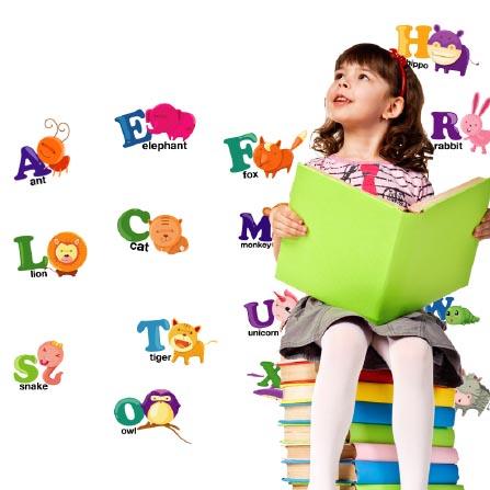 动物英文字母儿童学习早教背景墙贴 花