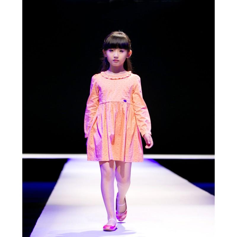 女童长袖连衣裙 桃红花纹