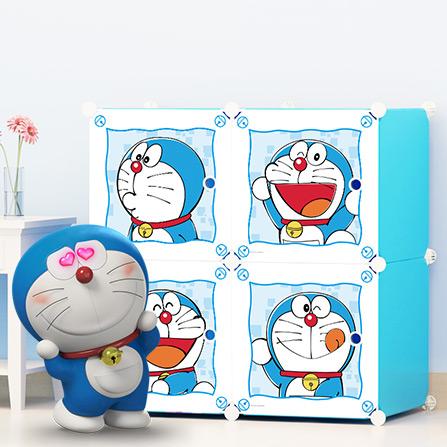 哆啦a梦叮当猫系列 简易卡通儿童组合衣柜 蓝
