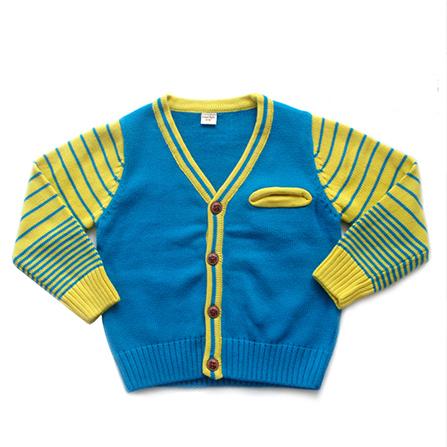 儿童男女宝宝拼色v领开衫毛衣针织衫 拼接