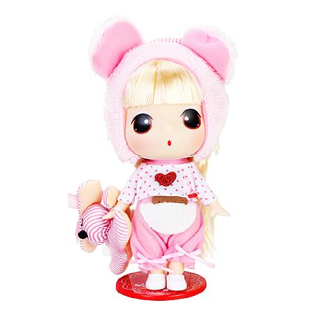 18cm冬己芭比迷你娃娃女孩公主洋娃娃 小熊
