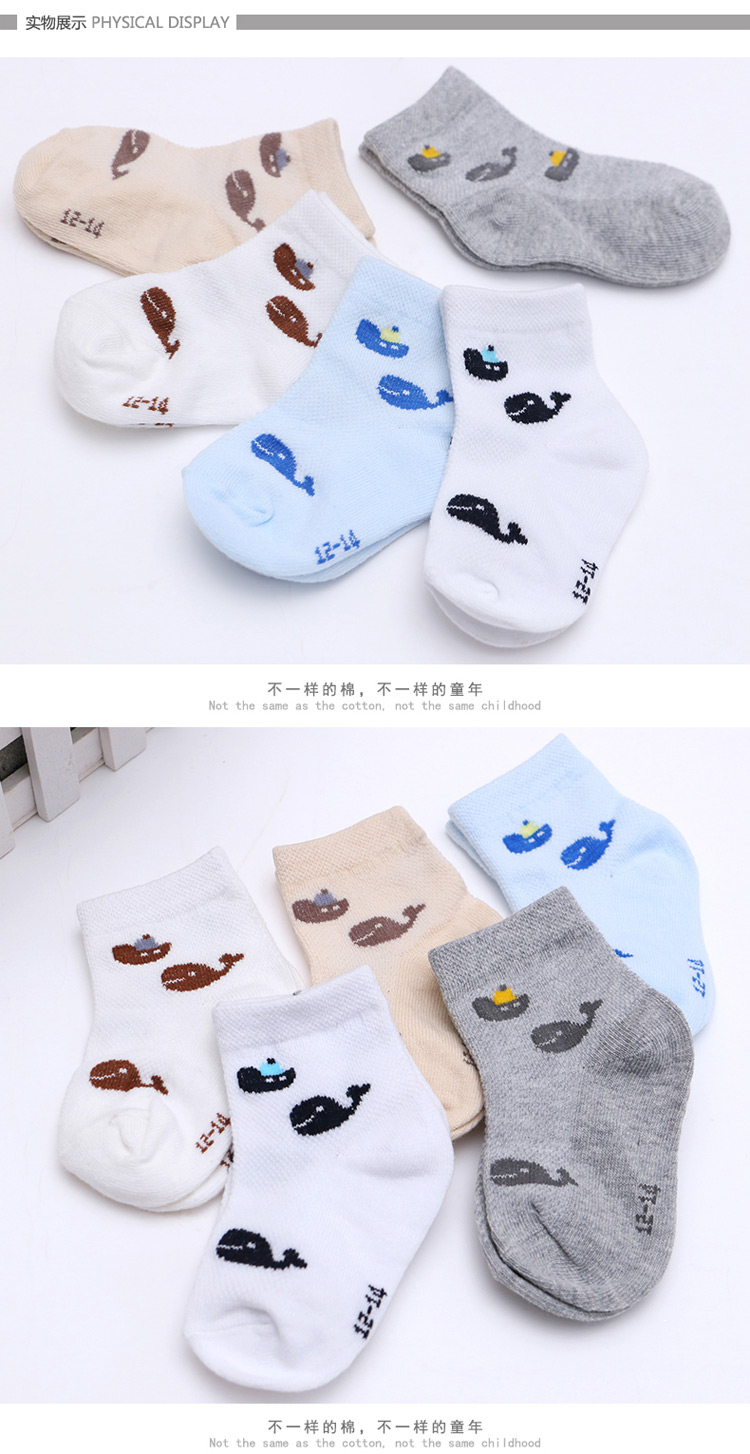 儿童棉袜宝宝袜男童5双春款上新 小海鲸男童袜
