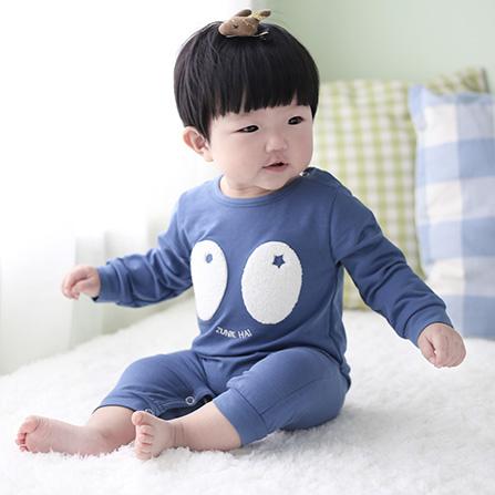 婴幼儿春秋装男女宝宝可爱超萌哈衣爬服 蓝