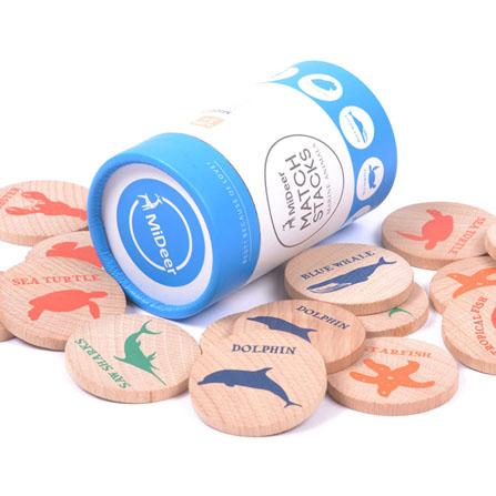 记忆棋配对游戏木片-海洋动物 多