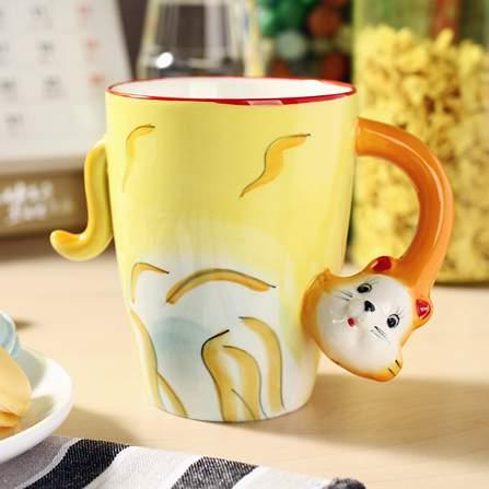 3d立体陶瓷蠢萌手绘动物杯