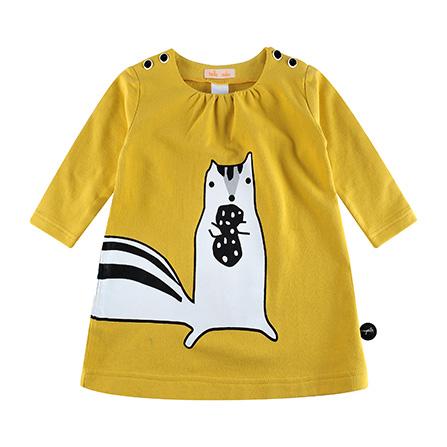美味森林小松鼠宝宝连衣裙 黄