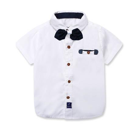 夏装童装衬衫男童短袖童装领结衬衣 白