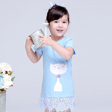 夏季小童可爱猫咪印花蕾丝拼接裙子 浅兰