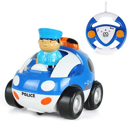 儿童卡通音乐遥控警车赛车玩具 蓝白