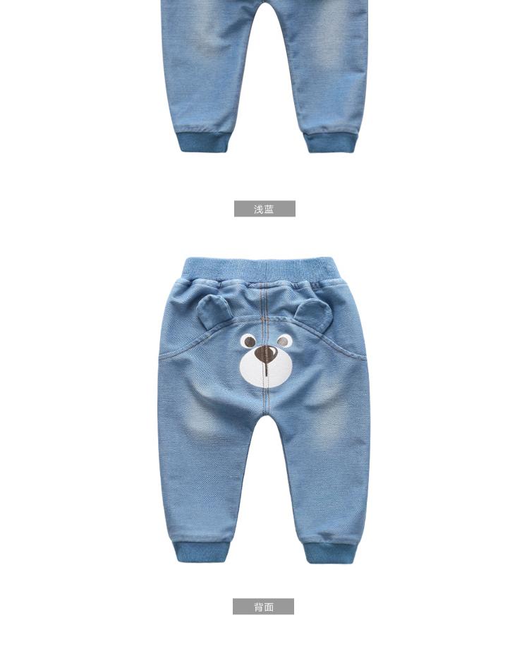婴儿冬季加绒牛仔裤宝宝裤子可爱小熊长裤保暖