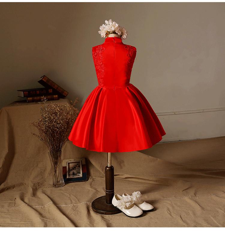 新款女童中国风绣花旗袍裙 红色蝴蝶对夹