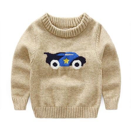 男童汽车图案圆领毛衣