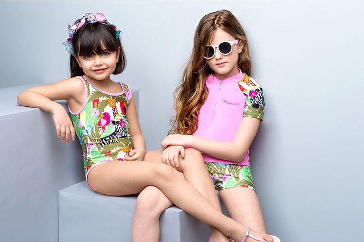 女童连体泳衣 中大童可爱宝宝儿童碎花舒适防晒沙滩泳装