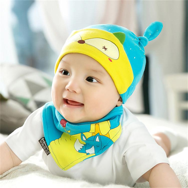 18新款婴儿彩棉套头帽宝宝帽子加三角巾套装新生儿睡眠睡觉帽子