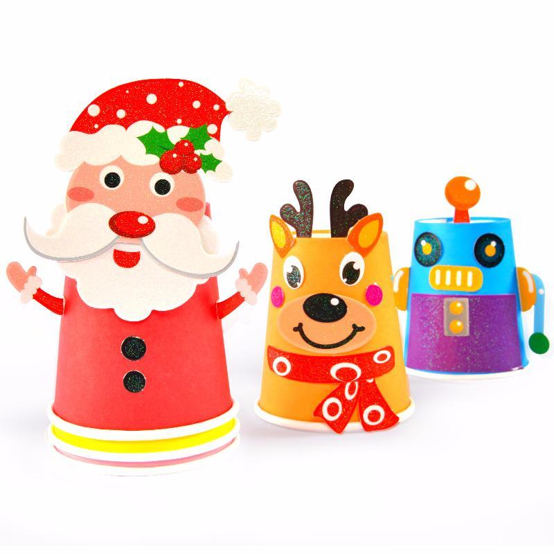 儿童手工diy制作材料包幼儿园纸杯贴纸益智玩具