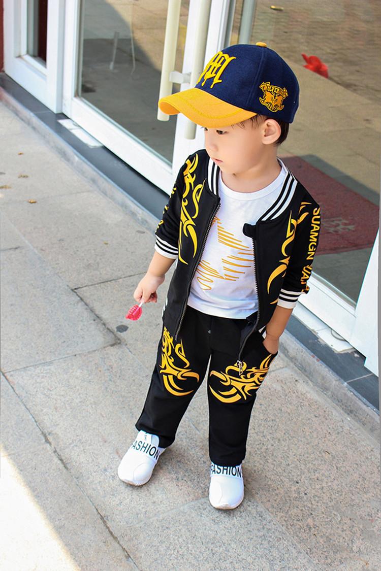 儿童休闲套装中小童纯棉可爱幼童 男宝宝春秋套装