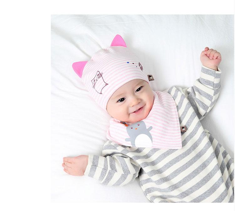 2018春季上新婴儿帽子0-12个月新生儿胎帽可爱小猫咪宝宝胎帽