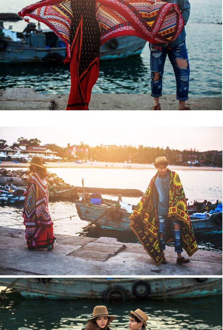 多款可选 夏季海边民族风围巾女两用披肩旅游