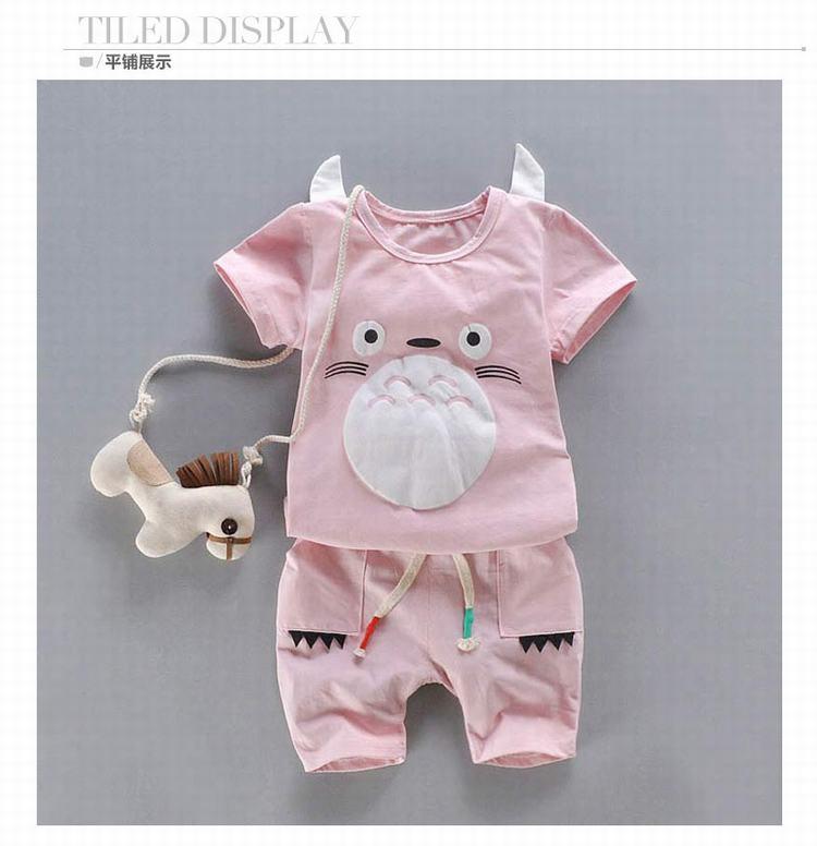 宝宝夏装短袖可爱仓鼠图案休闲两件套 c1819