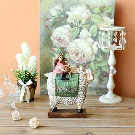 骑羊的女孩欧式田园装饰品 彩