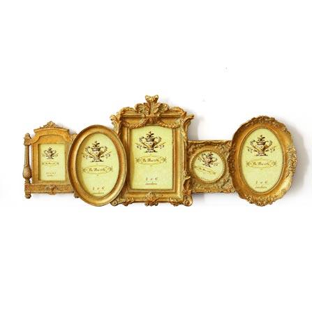 欧式浮雕五联组合树脂雕花相框照片墙