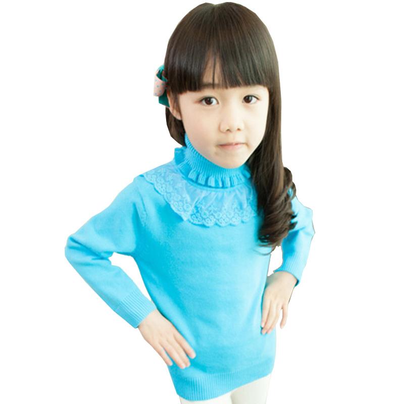 韩版女童荷叶边立领蕾丝花边可爱公主风毛衣 湖蓝