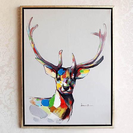 鱼西美屋 麋鹿客厅手工油画装饰 彩