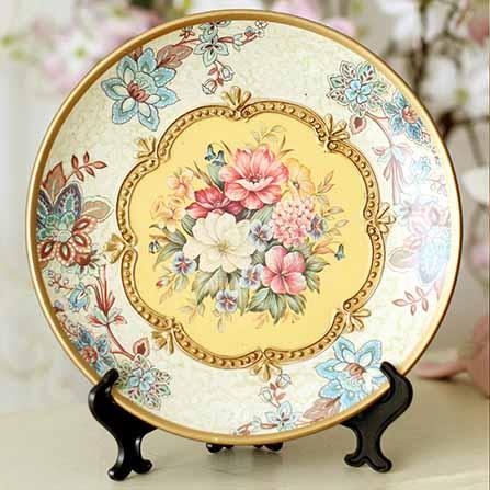 欧式奢华花朵陶瓷手绘装饰挂盘 彩