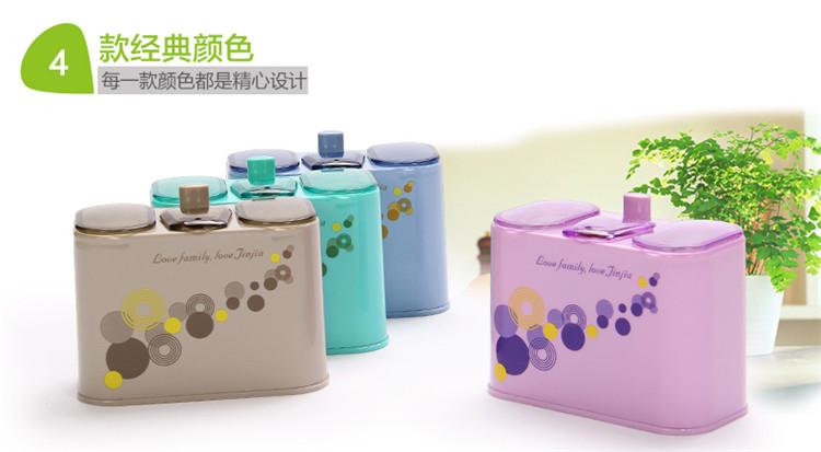 创意时尚三格自动牙签棉签收纳盒组合 紫