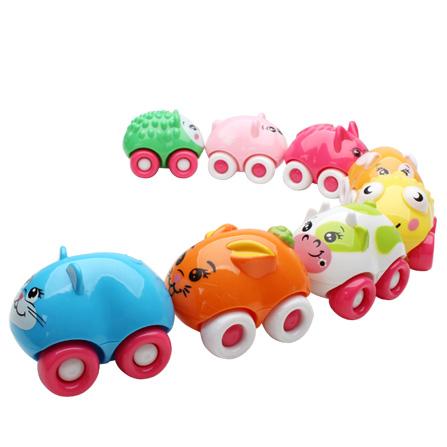 爱亲亲 8只装可爱动物磁力车 益智儿童玩具 幼儿卡通小玩具 磁性车