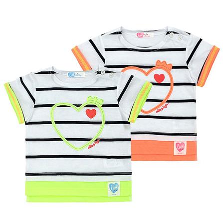 男女童夏季条纹亲子t恤 橙