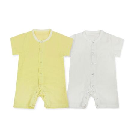 婴儿夏装 宝宝短袖纯棉muslin纱布开衫爬服2件装 90005 本白 粉黄