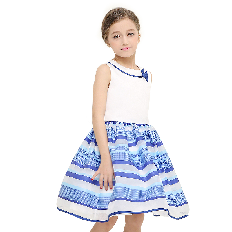 儿童彩色条纹背心连衣裙 宝蓝