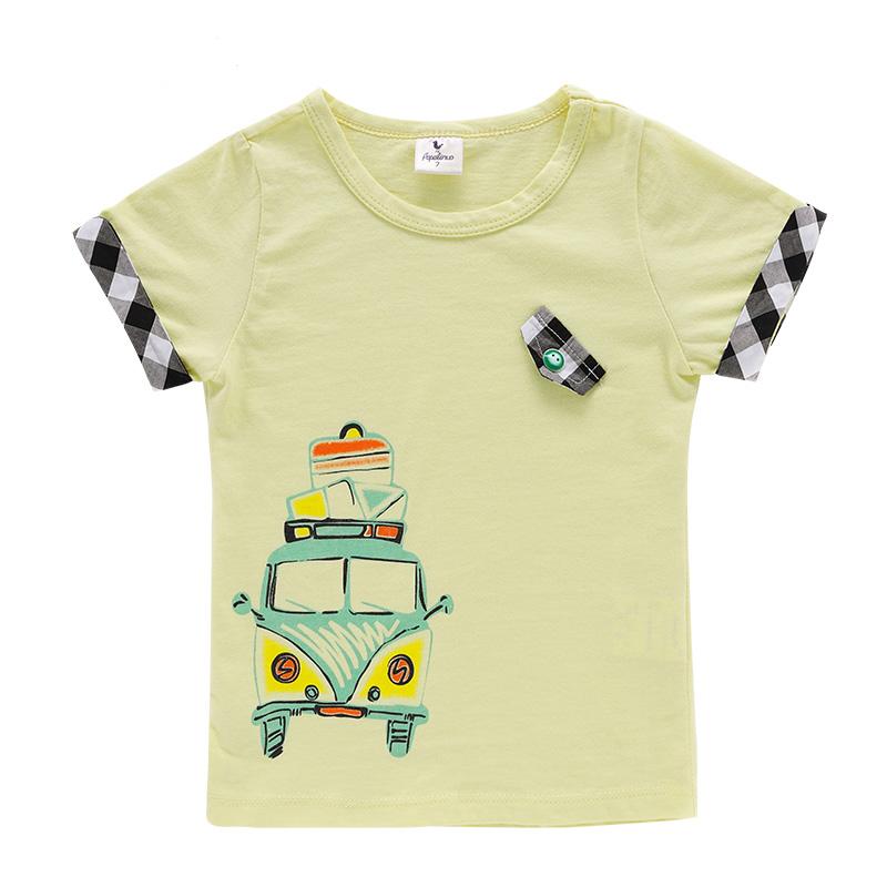 夏款童装小火车图案t恤男童短袖t恤plt4213 黄