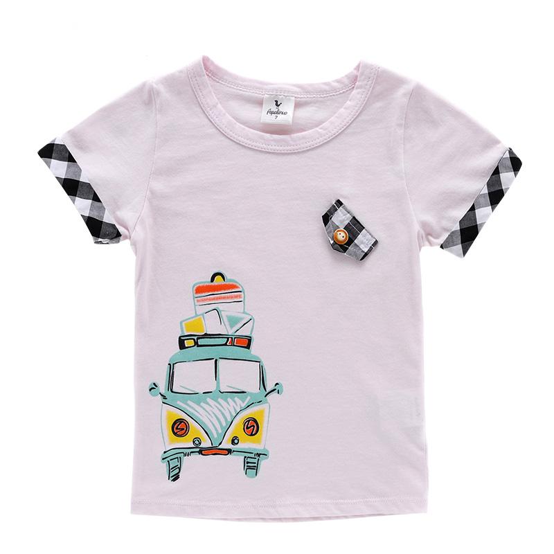 夏款童装小火车图案t恤男童短袖t恤plt4213