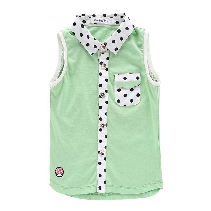 夏季女童背心百搭时尚女宝宝翻领砍袖波点小背心pcq4323 草绿
